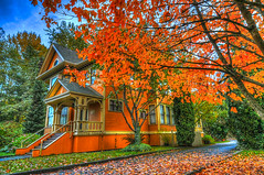 vibrant fall colour at Deas Island heritage house (non stop creations- Sherry Landon) Tags: autumn orange fall nikon sherry hdr landon d300 theworldwelivein nonstopcreations vibrantdeasisland