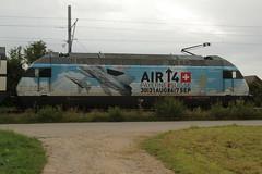 SBB Lokomotive Re 460 014 - 4 mit Taufname Val-du-Trient mit Werbung fr die AIR 14 P.ayerne vom 30-31. A.ugust  und 6 - 7. S.eptember 2014 in P.ayerne am Bahnhof Kerzers im Kanton Freiburg in der Schweiz (chrchr_75) Tags: train schweiz switzerland suisse swiss eisenbahn zug august sbb re christoph svizzera bahn treno schweizer ffs bundesbahn lokomotive lok 2014 460 suissa cff re460 kerzers chrigu 1408 bahnen schweizerische chrchr hurni kantonfreiburg chrchr75 bundesbahnen chriguhurni albumbahnenderschweiz albumsbbre460 chriguhurnibluemailch august2014 hurni140830 albumbahnenderschweiz2014712