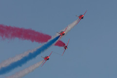 Red Arrows (SJM_Photography) Tags: blue red white hawk formation airshow rhyl redarrows raf aerobatics airdisplay royalairforce synchropair rollbacks rhylairshow