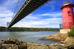 George Washington Bridge (Jemlnlx) Tags: park new york city nyc bridge red lighthouse ny canon river eos george washington waterfront little fort mark iii l 5d hudson usm polarizer ef 1740mm f4 gwb circular density hoya tryon neutral tiffen ultrasonic 77mm ndx400