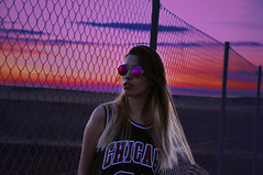 I'm gonna take this to the top (Electricoomassie) Tags: pink sunset portrait sky woman sol girl beautiful face female photoshop de atardecer photography glasses amazing mujer spain nikon shoot chica purple retrato bonito young colores cielo gafas increible d90