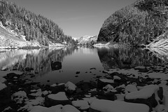 Peace and Quiet (JB by the Sea) Tags: blackandwhite bw canada rockies alberta banff rockymountains lakelouise lakeagnes banffnationalpark canadianrockies september2014