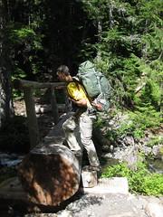 About to cross log bridge (daveynin) Tags: bridge log crossing nps hiking trail backpack olympic mememe deaftalent deafoutsidetalent deafoutdoortalent