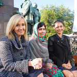 JK Rowling and Malala Yousafzai in Charlotte Square Gardens with Nelufar Hedayat