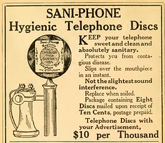 Sani-Phone Hygienic Telephone Discs Ad, World Almanac and Encyclopedia, 1912 (Internet Archive) (Alan Mays) Tags: old philadelphia vintage ads paper advertising typography technology pennsylvania antique circles ephemera pa health patents round type covers hotels 1912 1910s advertisements fonts protection printed prevention hygiene phones candlestick discs circular telephones companies disks typefaces germs diseases hygienic diseaseprevention bellevuestratford candlesticktelephones bellevuestratfordhotel protectivecovers saniphone hygienicdiscs telephonediscs phonediscs hygienictelephonediscco hygienictelephonedisc