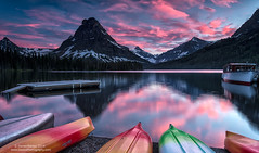 Terrific Two Medicine (Dwood Photography) Tags: park pink blue sunset two white mountain snow mountains reflection green ice landscape boat dock kayak glacier national medicine glaciernationalpark kayaks terrific boatdock 2014 sinopah dwoodphotography dwoodphotographycom sinopahsunsettwomedicinesunset terrifictwomedicine