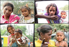 Faces at the Window ....  Explore 14/3/2017 ....  #139 (Mary Faith.) Tags: poverty delhi mothers children begging india beggars women money montage baby street collage montag pretty sad couples pairs girls