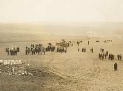 Army band and people in a field (National Library of Ireland on The Commons) Tags: hoganwilsoncollection wdhogan nationallibraryofireland funeral band procession army coffin 1920s crowd horses rural