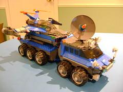 Custom Lego CS Mobile Rocketship launcher (tekmoc17) Tags: lego space classic mobile launcher custom moc rocket wheels blue rocketship brick