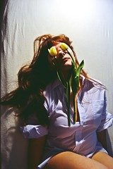 **Forgive my eyes for not seeing you through  the throng .. my heart was seeking for you for so long. (Despina Titoni) Tags: girl color portrait selfportrait expressive emotional emotions psychology capture feelings flowers symbolism grace white tulips forgiveness long copper hair bangs shirt hidden eyes woman dramatic dreamy romantic greek female photographer nikond3100 march 2017