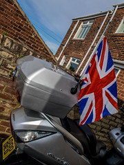 Union Jack and the Honda. (CWhatPhotos) Tags: pictures 2003 new sky green yard honda silver that lens jack outside four photography back big skies foto with image artistic zoom cloudy pics flag union wing picture large taken pic scooter olympus images have photographs photograph fotos 600 micro ez greenery motor which scoot maxi contain jap omd thirds silverwing em10 fjs clopuds 1442mm fjs600 cwhatphotos