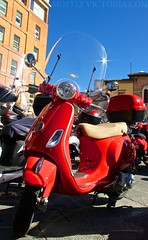 RED (MostlyVictoria) Tags: red italy color colour europe vespa wheels transport tuscany siena