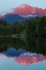 Alpenglow Reflections in Geroldsee (chris lazzery) Tags: sunset alps reflection germany alpenglow karwendel gerold canonef24105mmf4l canon6d geroldsee wagenbrchsee