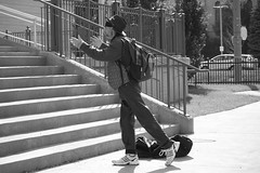 modern worship (Jeff Hayward (@pointandwrite)) Tags: street city urban bw man worship candid prayer meditation