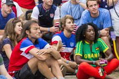Day 167 - Alone in a Crowd (brandondesign) Tags: party people usa colors fan uniform alone audience soccer crowd uptown event ghana jersey fans 365 worldcup futbol hooligans project365 usavsghana 365project