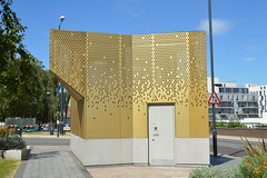 Golden Shower (Jamie Barras) Tags: uk england building london metal modern century design contemporary 21st wc pavilion urinal archictecture wembley ldn14