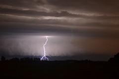 Lightning strike ahead of the shelf (Stormlover87) Tags: summer storm night nocturnal alberta strike thunderstorm lightning edmotnon