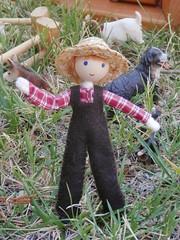 Miniature farmer doll Wildflower Innocence (wildflowertoys) Tags: woodentoys dollhousedolls toybarn bendydoll naturaltoys waldorftoys elvesandangels dollhousefamily toystable wildflowerinnocence
