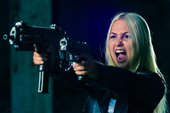 NOOOOOO (Artfrost) Tags: portrait woman hot sexy girl pose fire model war gun shoot maria military hero blonde warrior heroin combat protests playful attacks masha armed passionate fervent fights fanatical shouts mp7a1 artfrost