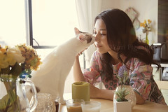 My love. (Yuri Figuenick) Tags: family light two portrait woman pet white selfportrait cute art love smile animal fairytale backlight cat canon myself asian happy eos japanese feline kiss soft adorable happiness portraiture 5d dreamy moment selfie markiii