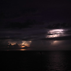 Lightning at sea (blufeather) Tags: sea sky storm weather clouds ship atlantic lightning atlanticocean