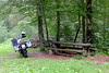 A pause to put on RevIt trousers as it was getting a little cold and wet, near Charmey, Switzerland. (Arveed) Tags: woods bmw pause gsa garmin xlite r1200gsa
