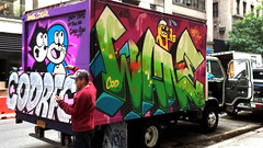 IMG_20140826_142243_225 (ShellyS) Tags: nyc newyorkcity streets buildings graffiti manhattan vans trucks