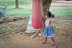 Little Thai Boxer (Jimmy Chuah) Tags: trip vacation holiday girl thailand kid child bangkok boxing ayutthaya sandbag 2014