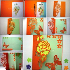 Kirigami-Greeting-Card-with-Rose-and-Butterfly (Wonderful DIY) Tags: rose butterfly card kirigami greeting