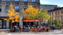 Colectivo Tenny Plaza -- Madison On The Square (johndecember) Tags: morning people usa fall coffee wisconsin cafe album sunny september madison mad hdr colectivo capitolsquare 16x9 2014 photomatixpro photoscape canoneosrebelt1i canonef40mmf28stm colectivomadisononthesquare colectivotennyplaza tennyplaza