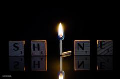 Match and Shine! (BGDL) Tags: reflection shine flame match tabletop weeklytheme scrabbletiles burningmatch nikond7000 bgdl lightroom5 afsmicronikkor40mm128g flickrlounge