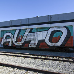 AUTO (TRUE 2 DEATH) Tags: auto railroad train graffiti tag graf trains railcar spraypaint boxcar railways railfan freight freighttrain dtt rollingstock wholecar benching freighttraingraffiti