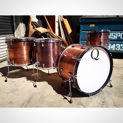 "Brushed copper with a light black patina 24"", 13"", 16"", 18"". #qdrumco #copper"