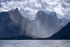 Maligne Lake (mark_rutley) Tags: light sky lake holiday storm mountains rain weather clouds nationalpark jasper canadian malignelake canda lakemaligne