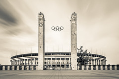 Historic Arena (jazzyoki) Tags: city longexposure sky bw berlin sports architecture concrete blackwhite stadium structure arena olympia olympic stadion