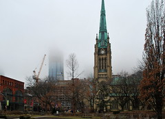 St. James Park (Marcanadian) Tags: toronto ontario canada downtown city architecture building st james park cathedral church spire 88 scott construction fog cloud
