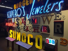 The American Sign Museum (jericl cat) Tags: schperos jewelers sunoco sign neon plastic timeline history letters american museum cincinnati ohio 2016 signs collection exhibit