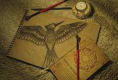 (e.v.e.r.m.o.r.e) Tags: bird mockingjay painting coal light yellow composition fur red notebook candle