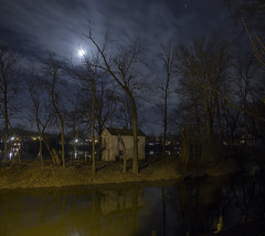 365-64 (• estatik •) Tags: 36564 365 64 march52017 37517 sun sunday night moon dark darkness reflection lewis island rowing club new hope pa pennsylvania lambertville nj jersey hunterdon bucks county panorama trees canal delaware river house shack