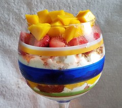 Cottage Cheese Mango Strawberry Salad with Flaxseed (cleanfreshcuisine) Tags: cleanfreshcuisine healthy lowfat vitaminpacked antioxidant cottagecheese mango strawberries flaxseed dessertlove foodbloggersdessertlove