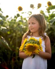 Sweet Annalise Smiles (sugarmagphoto) Tags: flowers summer portrait children louisiana child farm siblings sunflower gilliam