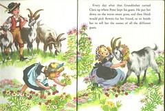Heidi, Clara and Peter with goats (LarrynJill) Tags: flowers fiction vintage heidi book illustrations literature story peter goats spyri