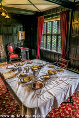 Victorian Dining (Adrian Evans Photography) Tags: china uk food heritage window glass lamp fruit architecture breakfast bread table carpet lights newspaper tea interior curtain victorian meat historic eggs jug dining british mansion tablecloth