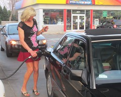 Again Pumping Gas (MarcieGurl) Tags: tgirl tranny crossdresser gurl marciegurl