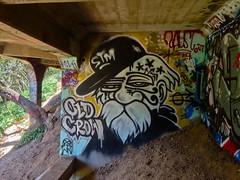 Old Crow (always_exploring) Tags: old bridge urban graffiti under explore bayarea spraypaint eastbay crow stm graff exploration ptv oldcrow urbex eastbaygraffiti bayareagraffiti ptvcrew punkthugsandvandals