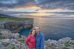 Us in the sunset (TheCrazyTravel.com) Tags: ocean sunset sea sky espaa cliff sun mountains clouds coast seaside spain pablo llanes cantabria ilze cantabric principadodeasturias cobijeru