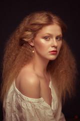 *** (Gianeya) Tags: lighting portrait art girl beauty studio hairdo style redhair renaissance hairstylist makeupartist