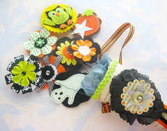 Halloween cone (Laurie Star) Tags: flowers orange black green halloween paper felt faux bouquet