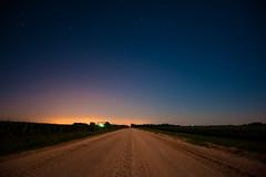 Nebraska Early Morning (Erin_Takes_Pictures) Tags: road moon field night dark stars landscape shower corn nebraska long exposure horizon full lincoln meteor gravel perseids
