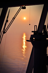 Venice sail in, 5am sunrise (RedRoodle) Tags: travel venice fog sunrise nikon edited ships shipsbridge d5000